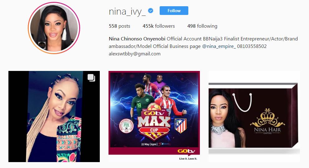 #BBNaija 2018 finalist, Nina Verified On Instagram - OkayNG News