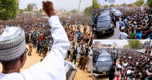 Photo of PHOTOS: President Buhari Welcomed By Massive Crowd Of Supporters As He Arrive Jigawa State