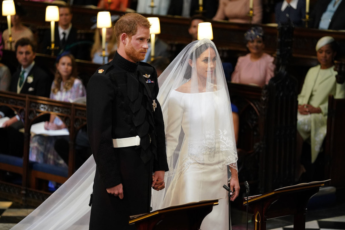 Royal wedding. Prince Harry and Meghan Markle in St George's Chapel at Windsor Castle for their wedding. Picture date: Saturday May 19, 2018. See PA story ROYAL Wedding.