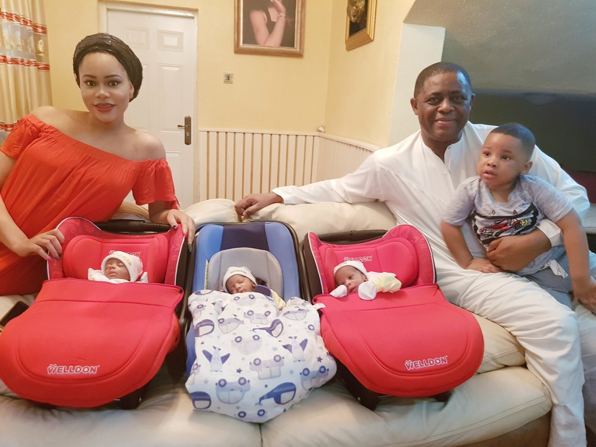 Dfqp4q3WkAApiRk - Femi Fani Kayode Shares Cute Photo Of His Triplets As They Return From Hospital
