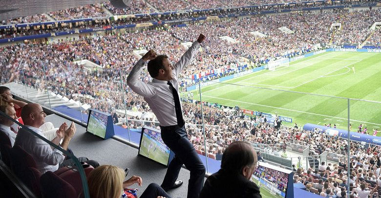 Photo of PHOTOS: French President Emmanuel Macron Celebrates French World Cup Win