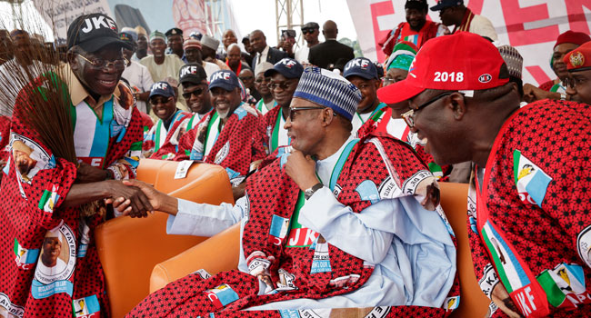 Buhari in Ekiti 2 - PHOTOS: President Buhari Attends APC Mega Rally In Ekiti, Urges Residents to Vote for Fayemi