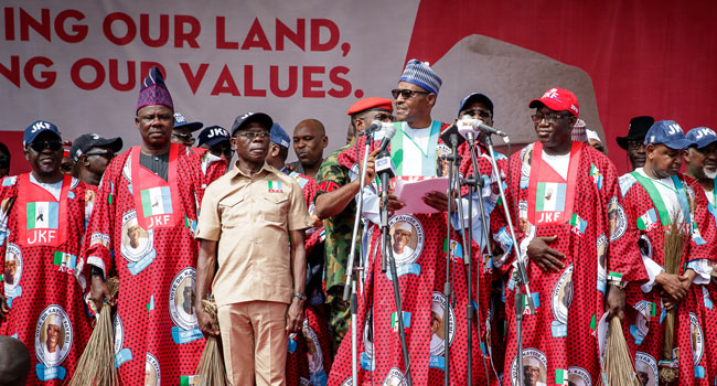 Buhari in Ekiti 6 - PHOTOS: President Buhari Attends APC Mega Rally In Ekiti, Urges Residents to Vote for Fayemi
