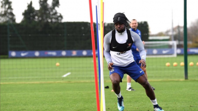 Moses training with Chelsea
