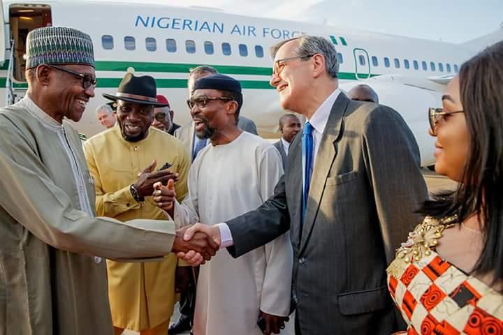 DiLORAIWAAI2mOB - PHOTOS: President Buhari arrives Netherlands ahead of ICC's 20th anniversary