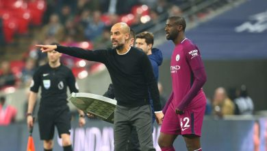 Pep Guardiola and Yaya Toure