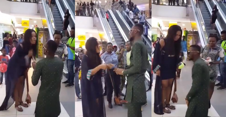 Photo of VIDEO: Nigerian Man Proposed To His Girlfriend In Public And Received A Dirty Slap