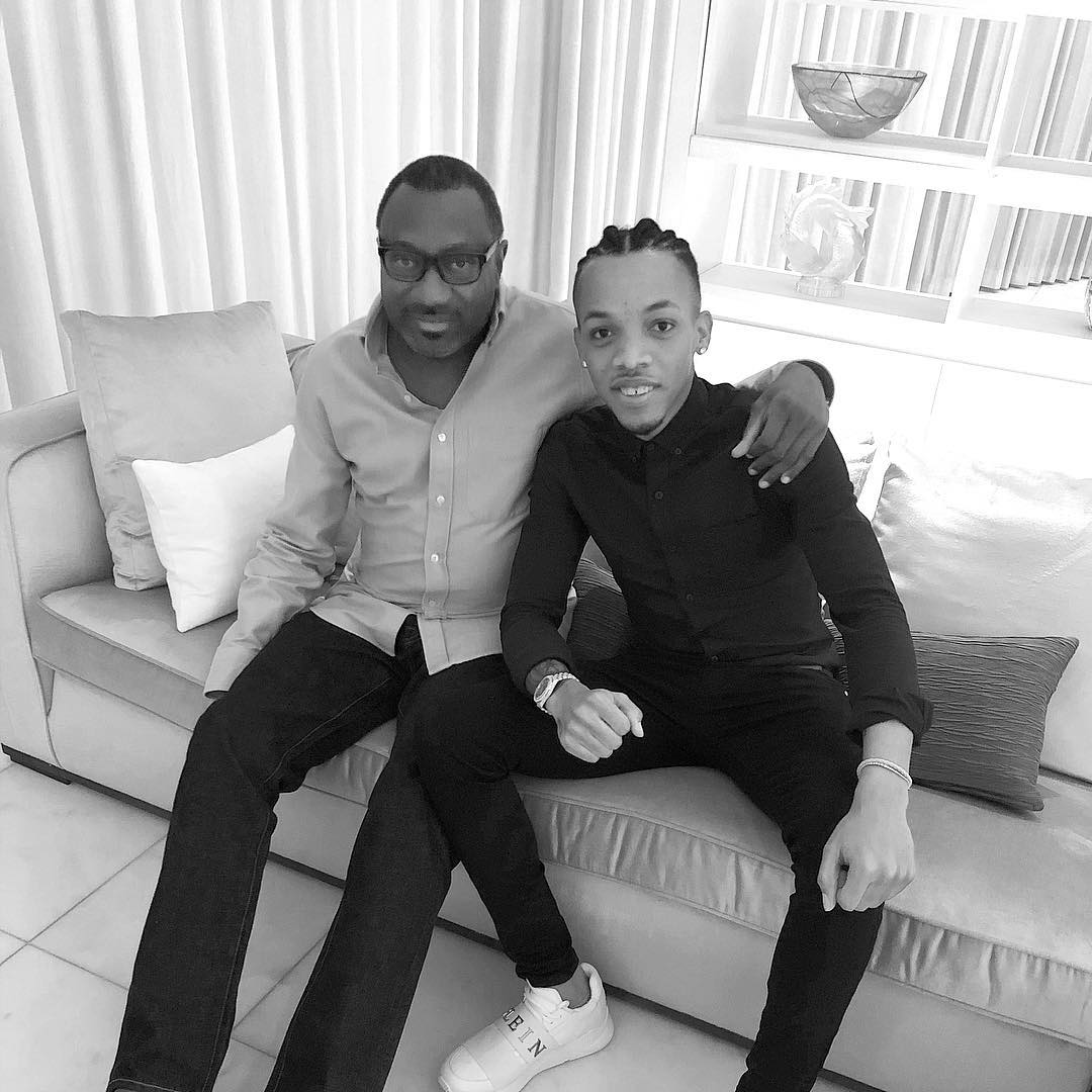 Femi Otedola pictured with musician, Tekno - OkayNG News