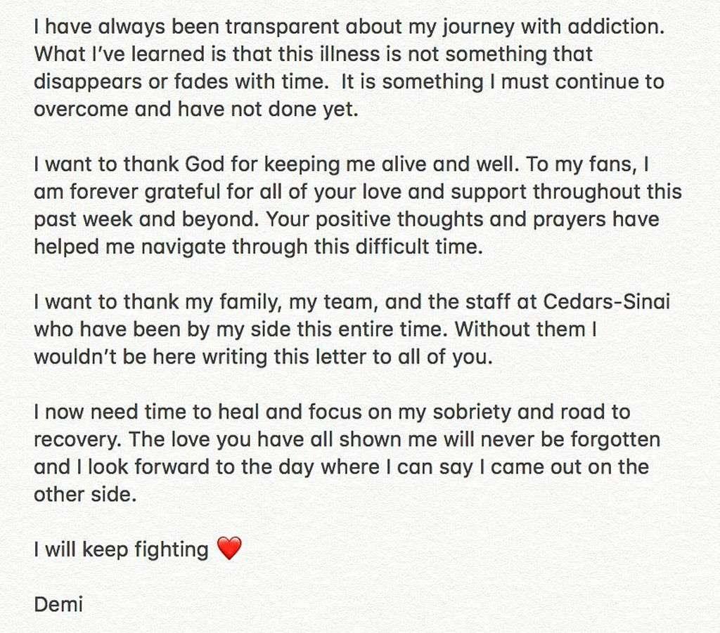 Demi Lovato Statement on Drug Overdose