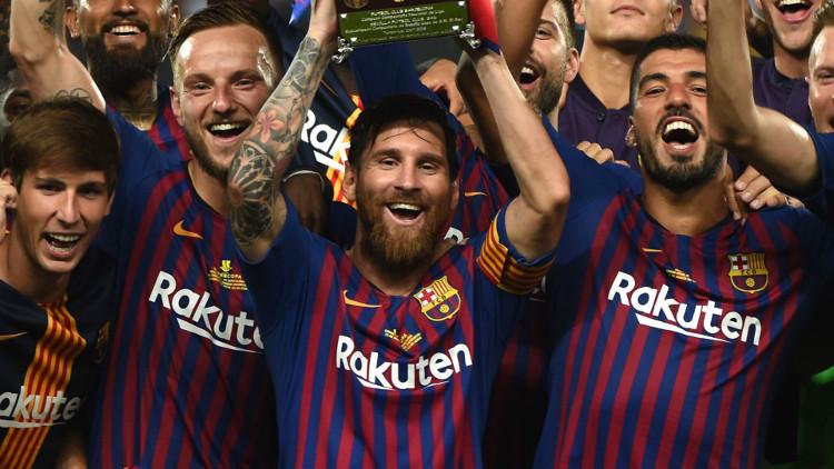 Messi celebrate Barcelona Super Cup Win