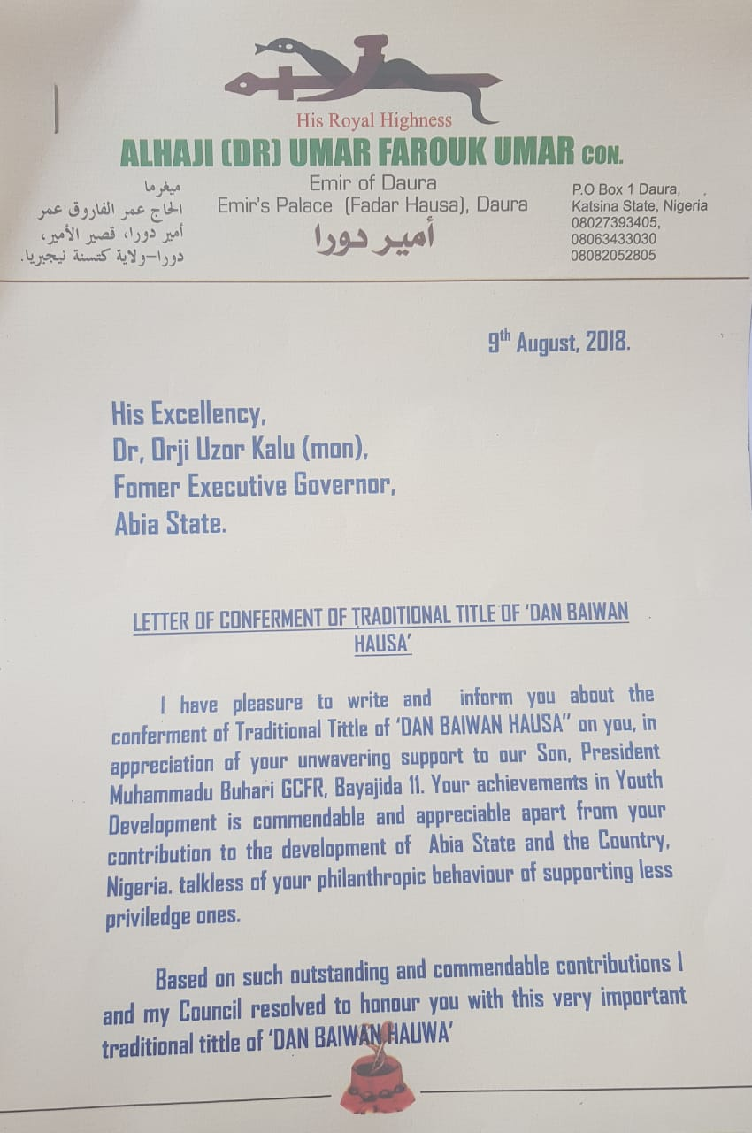 Emir of Daura to Confer Orji Kalu with Traditional Title - OkayNG News