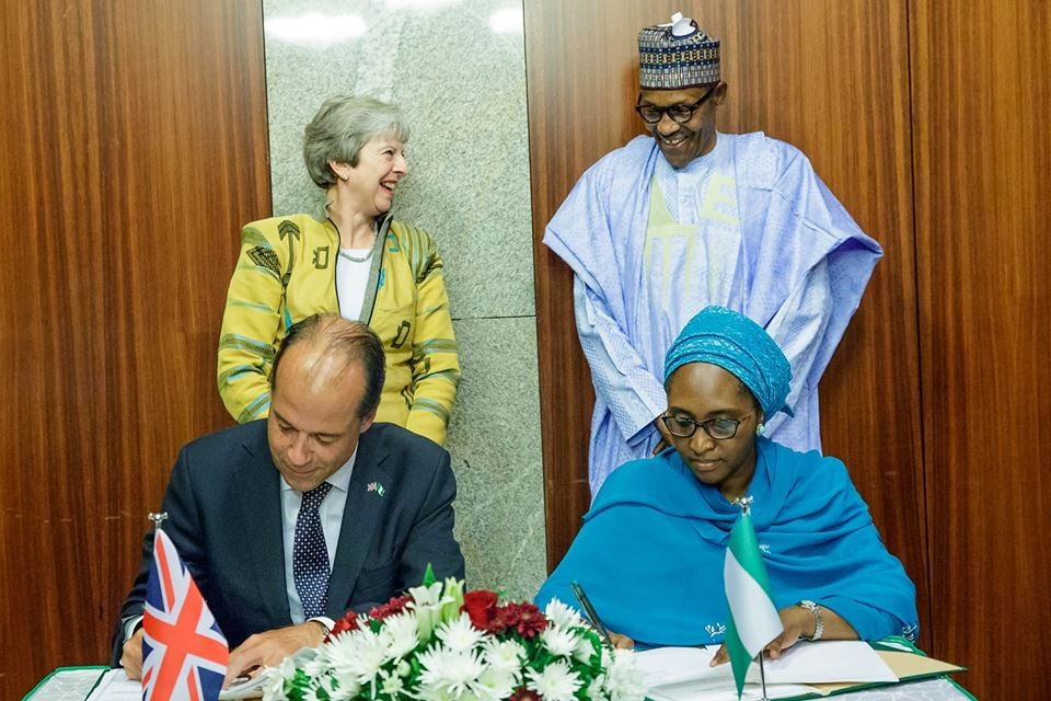 UK Nigeria Sign 1 - Nigeria, UK Sign Bilateral Agreement On Security, Economy During Theresa May Visit