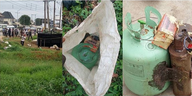 bomb in delta - PHOTOS: Bomb Discovered in Asaba, Delta