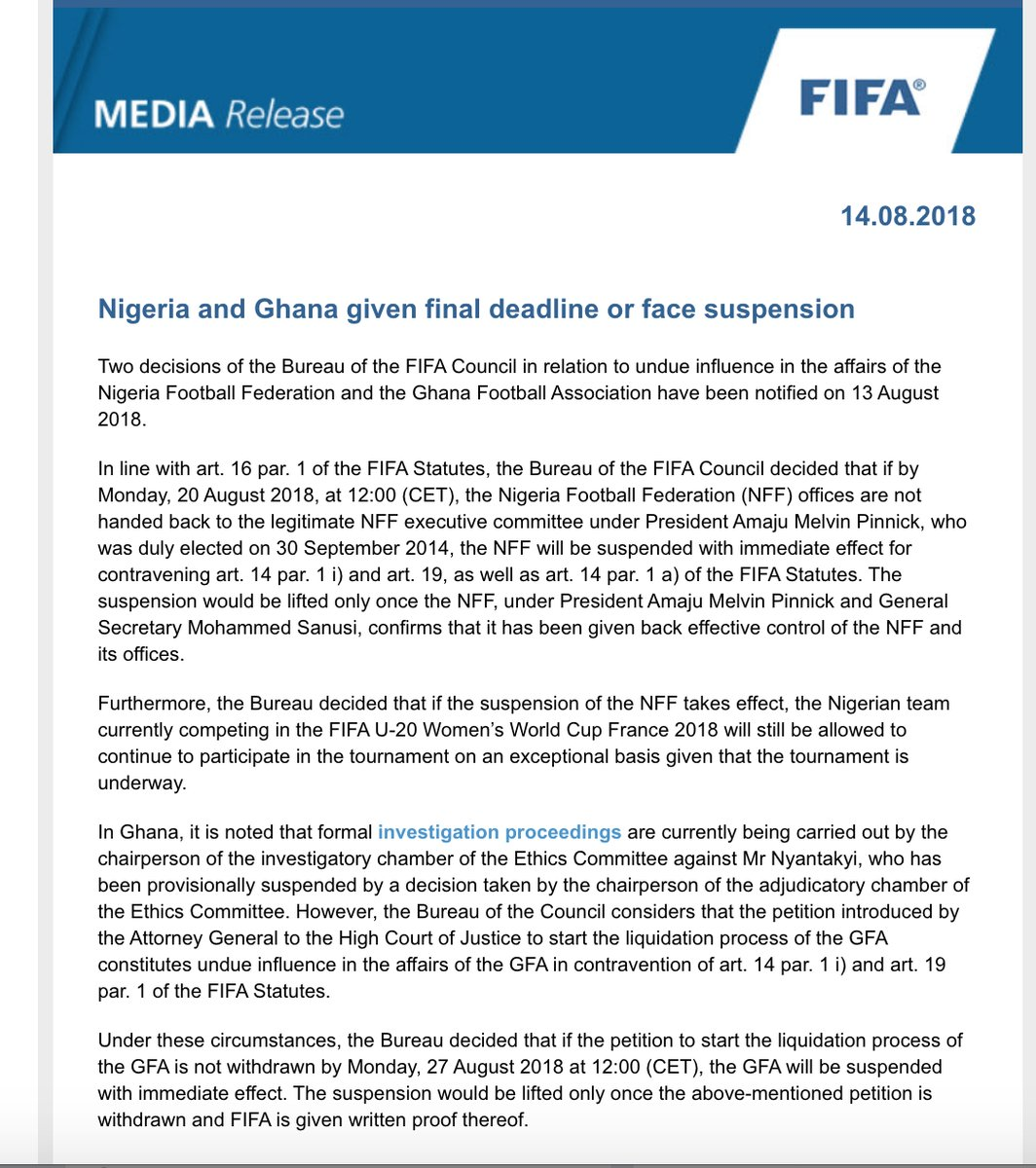 FIFA Gives Nigeria Deadline to Settle NFF Crisis or Face Suspension - OkayNG News