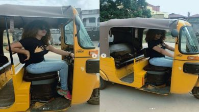 nadda1 tile 390x220 - PHOTOS: Actress Nadia Buari Spotted Inside Tricycle