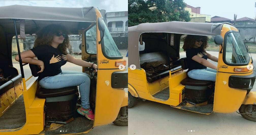 PHOTOS: Actress Nadia Buari Spotted Inside Tricycle