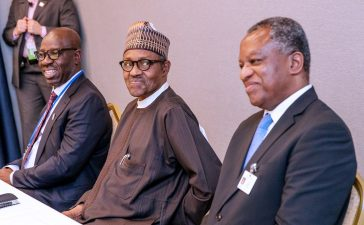 President Buhari and his delegates in New York