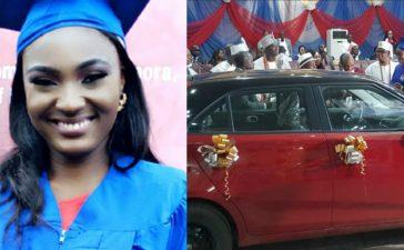 Esther Adaobi Azom with her brand new car reward