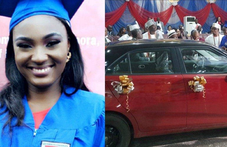 Esther Adaobi Azom with her brand new car reward