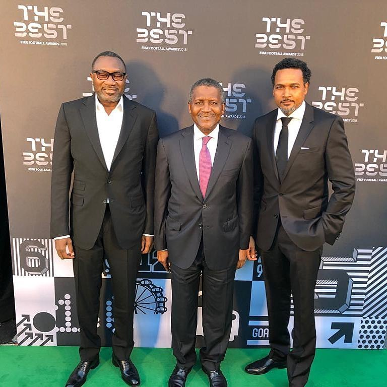 Photo of Dangote, Otedola and Cecil Hammond represented Nigeria at the FIFA Best Awards
