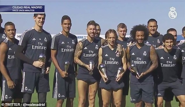 Courtois, Varane, Ramos, Modric, and Marcelo show off their awards at training ground [See Photos] - OkayNG News
