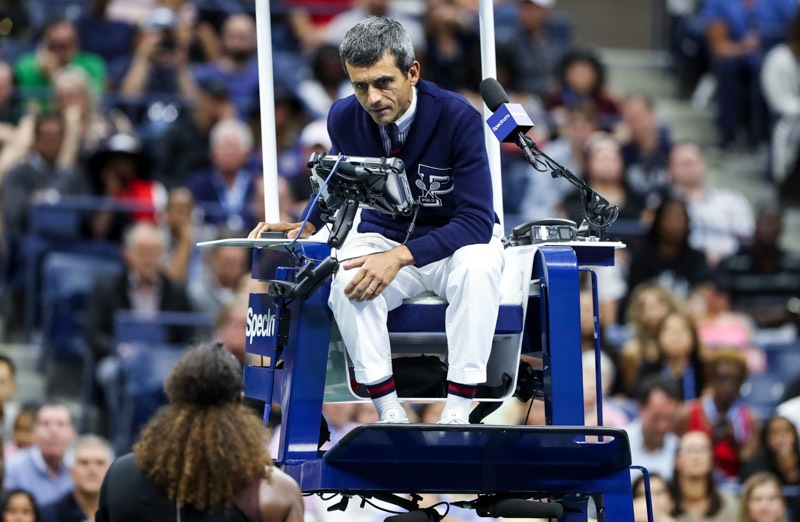 Umpire Carlos Ramo and Serena Williams at US Open final