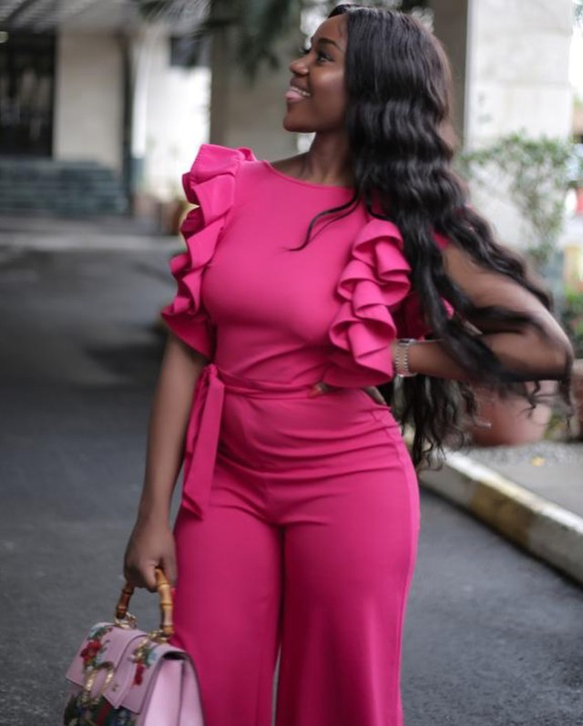 Davido's Girlfriend, Chioma Stuns As She Shares Photos In Pink Jumpsuit [See Photos]