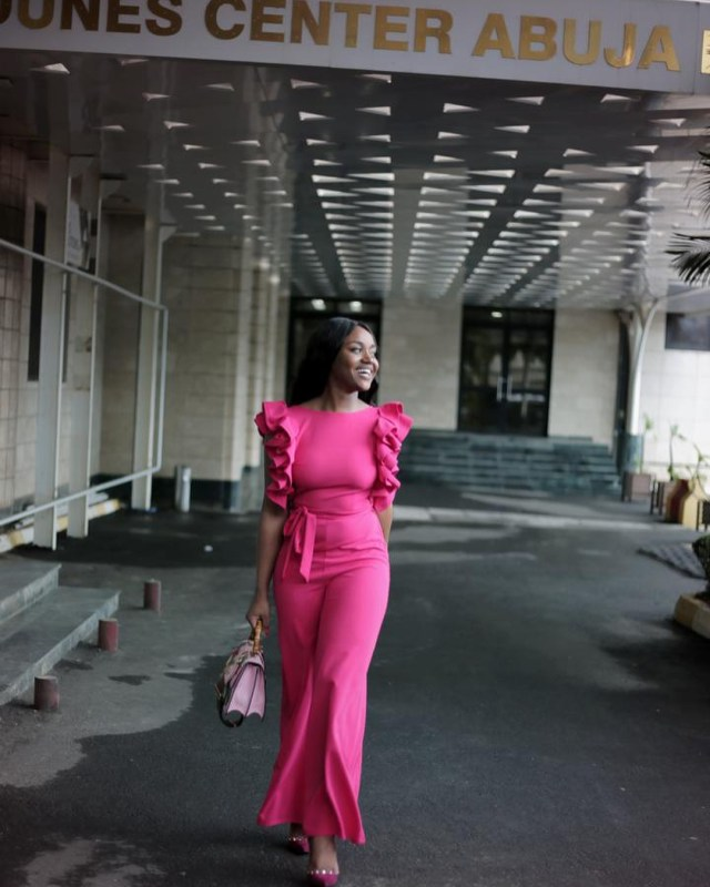 Davido's Girlfriend, Chioma Stuns As She Shares Photos In Pink Jumpsuit [See Photos] - OkayNG News