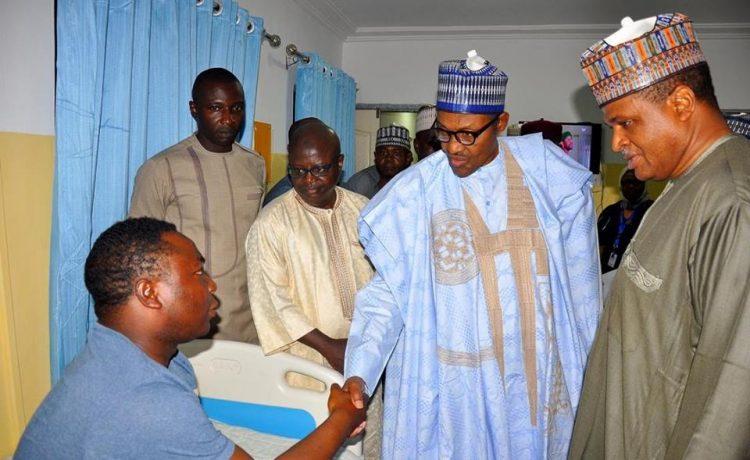 President Buhari Pays Visit to Nigerian Air Force Injured Pilots [See Photos] - OkayNG News