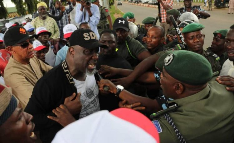 Dino Melaye and Ben Murray Bruce during the PDP protest.