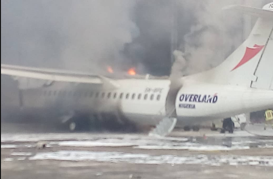 Photo of Fire Guts Overland Aircraft at Lagos Airport [Watch Video]