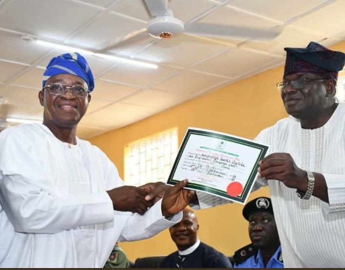 Photo of Osun Election: Oyetola Receives Certificate of Return from INEC