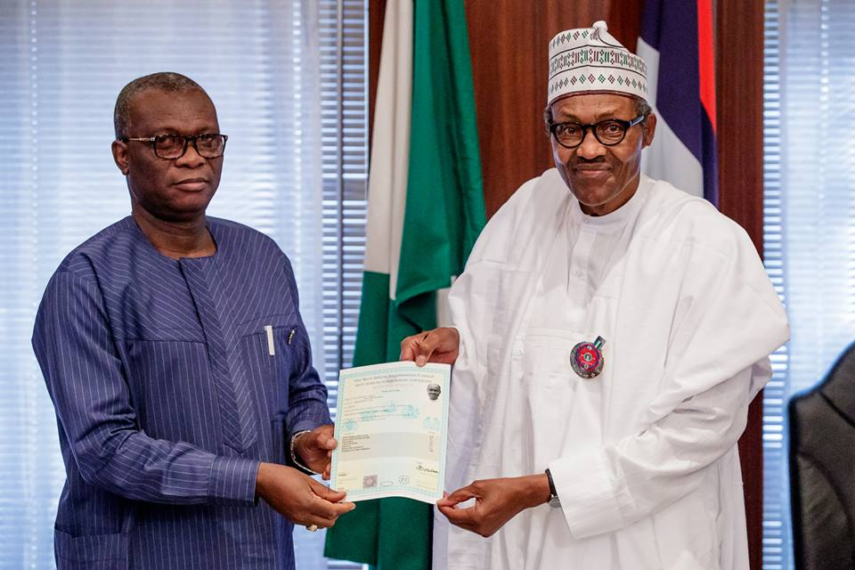 Buhari WAEC 1 OkayNG 1 - WAEC Finally Presents Buhari's Certificate to Him In Aso Rock [See Photos]