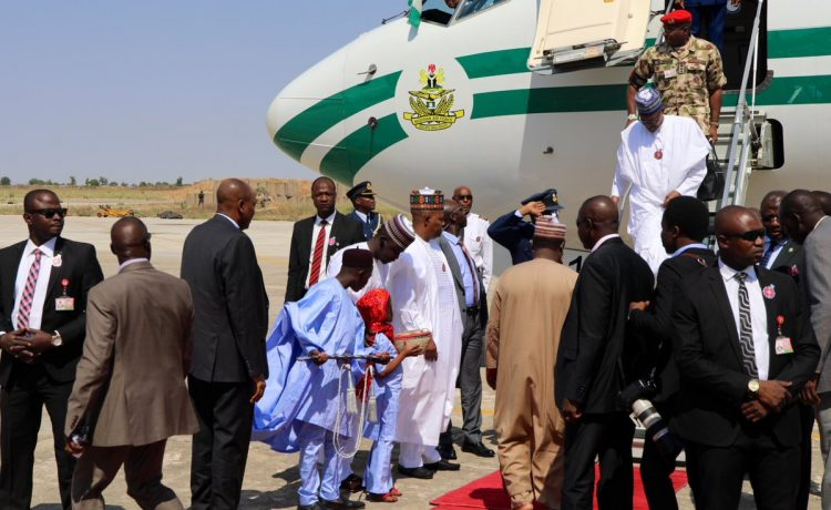 Buhari Arrives Maiduguri to Declare 'COAS Conference' Open [Photos] - OkayNG News