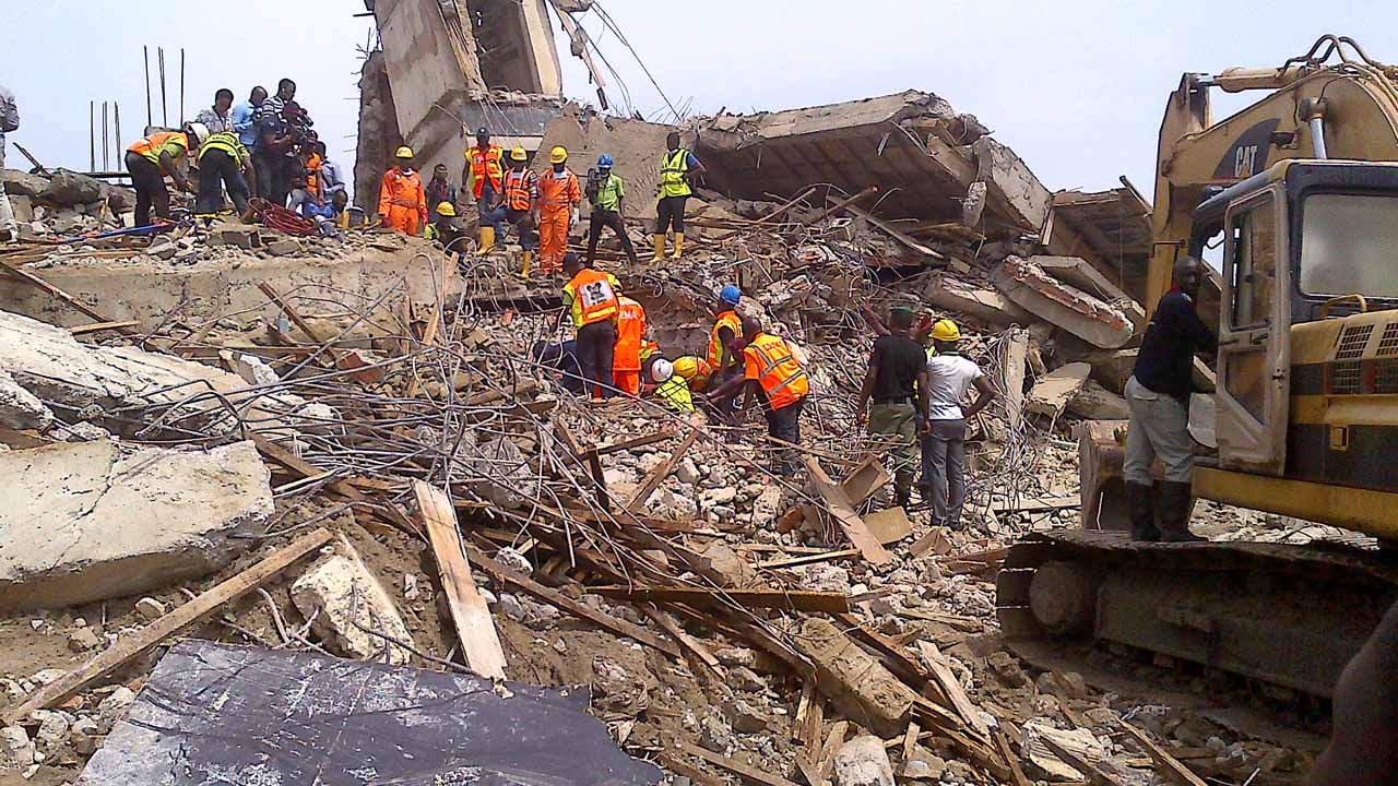 Collapsed Building File OkayNG - JUST IN! Many Feared Dead As Seven-storey Building Collapses In Port Harcourt