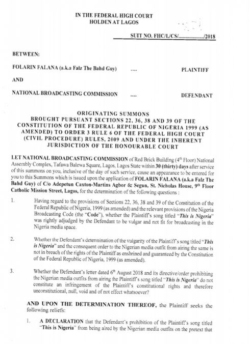 """FF 490x676 - Falz Files Suit Against NBC for Placing Ban On His Song """"This Is Nigeria"""""""
