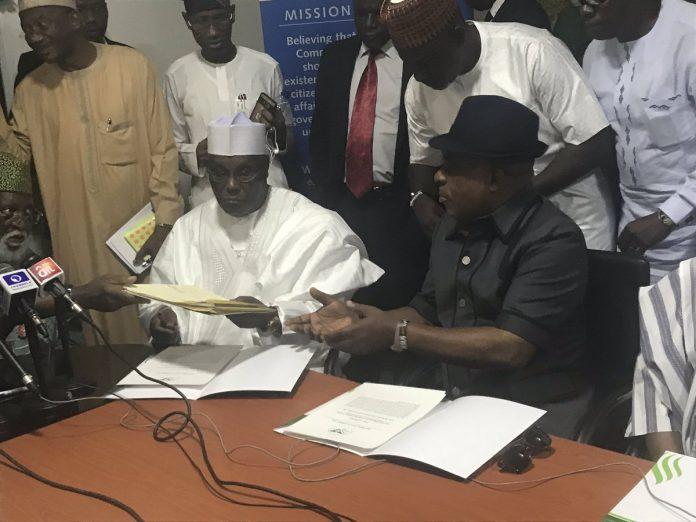 atiku peace 2 696x522 - PHOTOS: Atiku, Ezekwesili Finally Sign 2019 Election Peace Accord