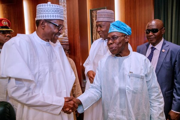 Buhari Obasanjo OkayNG 1 - Buhari, Obasanjo, Jonathan, Saraki, others meet in Aso Rock [Photos]