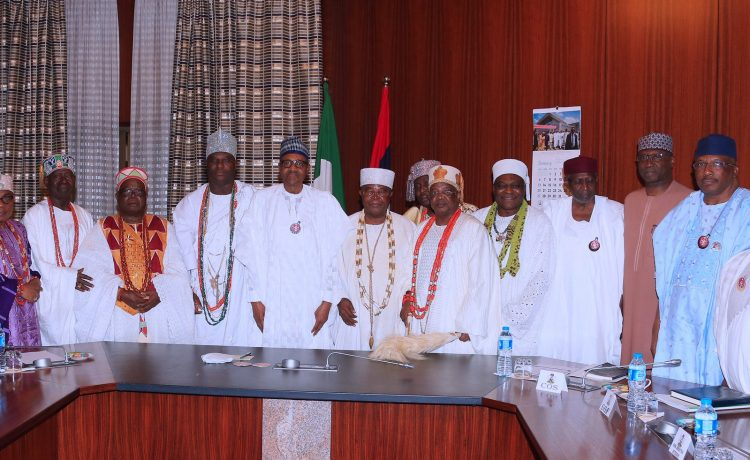 Buhari Receives South West Traditional rulers in State House [Photos]