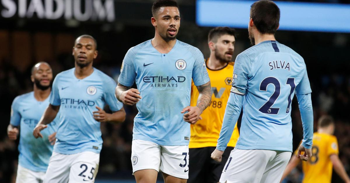 Manchester City Wolves EPL OkayNG - Manchester City Defeat Wolves 3-0: Jesus Scores Twice - Watch Highlights