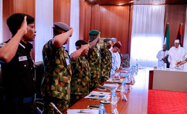 Photos from Buhari's meeting with governors, service chiefs