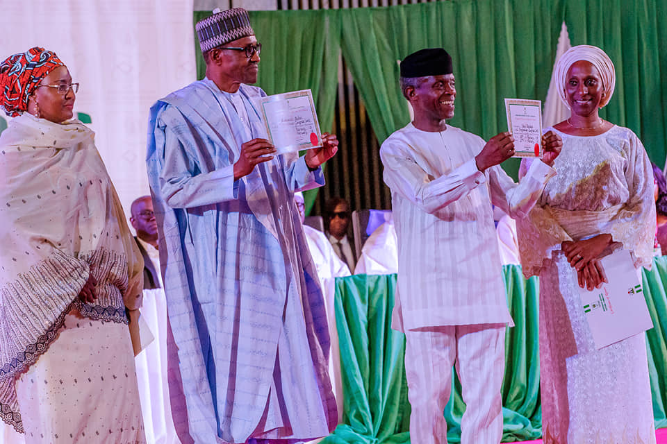 Buhari, Osinbajo receive their certificates of return from INEC [Photos]