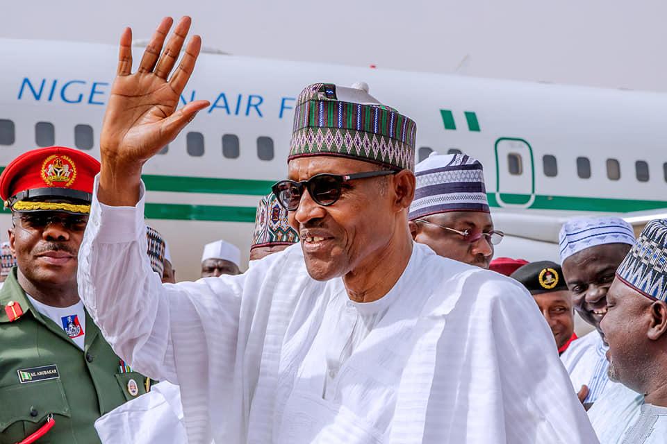 Buhari lands in Katsina to vote tomorrow in Daura [Photos]