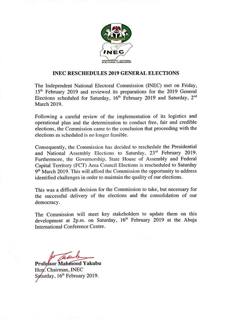 OFFICIAL! INEC finally postpones presidential election to Feb. 23 - OkayNG News