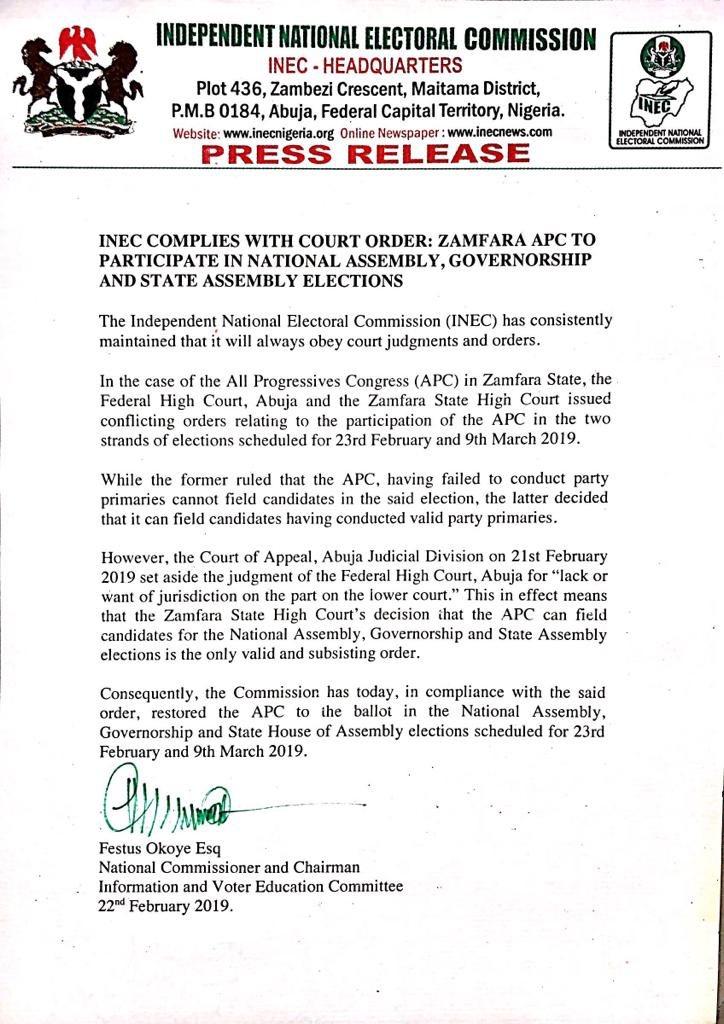 INEC Zamfara Okay ng - INEC finally clears APC to participate in Zamfara elections