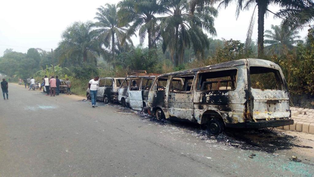 INEC buses burnt Okay ng 1 - INEC buses carrying sensitive election materials burnt in Akwa Ibom [Photos]