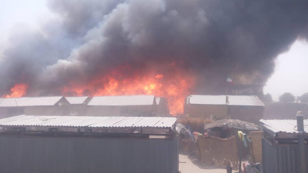 Monguno IDP camp fire © Okay Nigeria