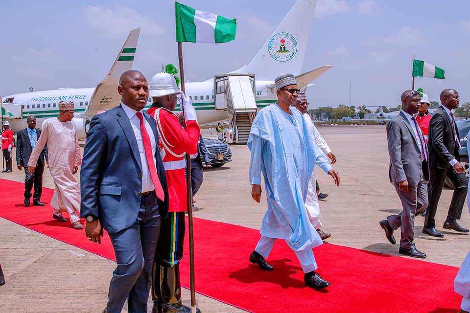 Buhari returns to Abuja from Daura after governorship election