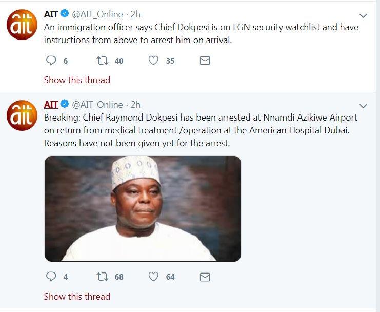 AIT Dokpesi Okay ng - Dokpesi arrested at Abuja airport on return from medical trip