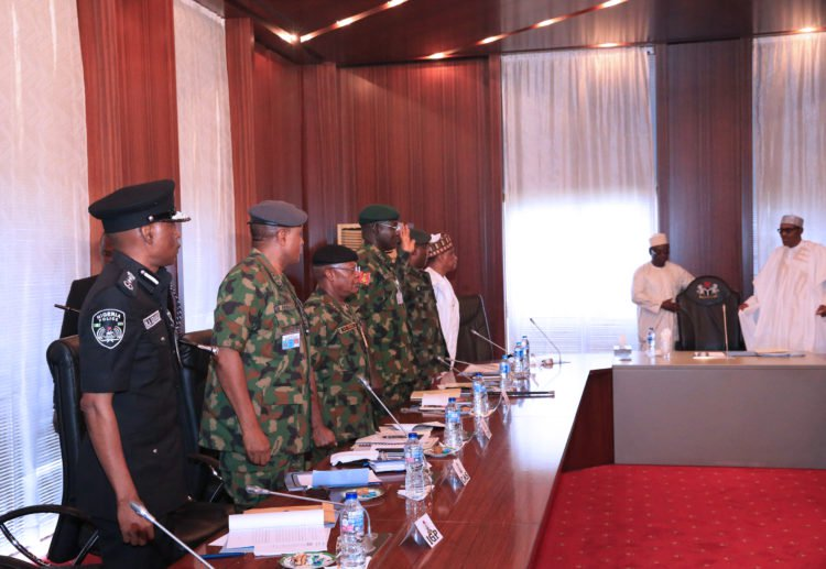 Buhari Security Meeting Okay ng 3 - Buhari holds security meeting in Aso Rock Villa [Photos]